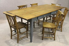 RUSTIC HANDMADE 9FT PINE FRENCH FARMHOUSE TABLE WITH A PAINTED BASE THE PROVENCE