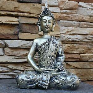 Schöner Buddha  in silber 31 cm hoch aus Resin NEU für innen u. außen