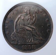 1858 O SEATED HALF SMALL WHITE ANACS EF 40 GLOSSY OLDE TYME PATINA LOOKS BETTER