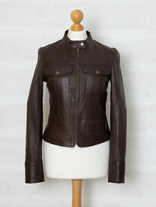 Mexx Women's S Brown Soft Lambskin Leather Fitted Jacket