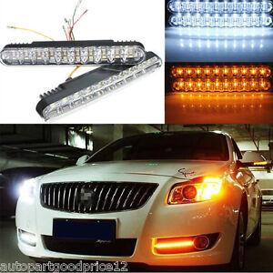 Universal 2x 30 LED Amber Turn Signal Lights & White DRL Daytime Running Light