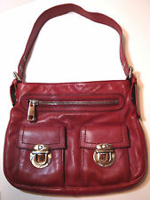 Marc Jacobs Calf Leather Solid Red Pomegranite Shoulder/Handbag 3 Compartments