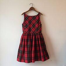 Ralph Lauren Red Tartan Plaid Sateen Party Dress w/ Crinoline Sz 16 PERFECT
