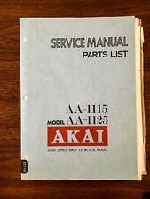 Akai AA-1115 AA-1125 Receiver Service Manual *Original*
