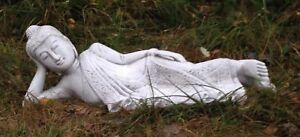 Buddha liegend Gartenfigur Skulptur Statue Steinguss Buddhismus Asien Länge:75cm