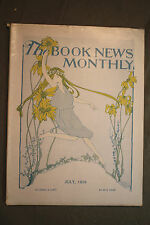 THE BOOK NEWS MONTHLY rare antique old magazine cover girl dancing  sunflowers
