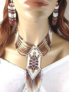 NATIVE STYLE ETHNIC ARTISAN TURTLE BROWN BEADED NECKLACE EARRINGS SET N23/2