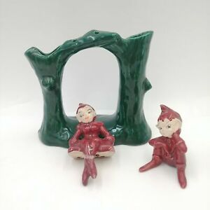 Hollywood Ceramics Tree Base with 2 Wood Sprites/Elves/Fairies Red