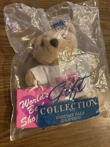 "Avon  Collection Pastime Pals I Love Shopping 5"" Teddy Bear NEW in the plastic"