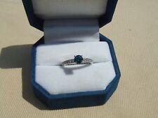 vintage .61 ct. blue diamond 14k white gold ring .93ctw size 6
