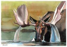 original drawing A4 406LM art by samovar watercolor Elk Signed 2020