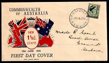 Australia 1950-57 1 1/2d Green Queen Elizabeth 1 Fdc - Used