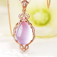 Luxury Tear Drop Rose Gold Pink Hibiscus Stone Pendant Necklaces Crystal Jewelry