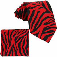 New Vesuvio Napoli Polyester Men's Neck Tie & hankie set zebra print red