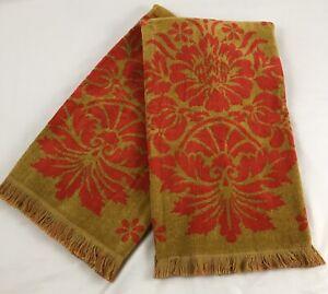 Vintage St Mary's Gold + Orange Two Tone Bath Towel Set MCM 70's