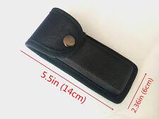 New HQ Black Nylon Sheath For Folding Pocket Knife Pouch Case Belt loop Button