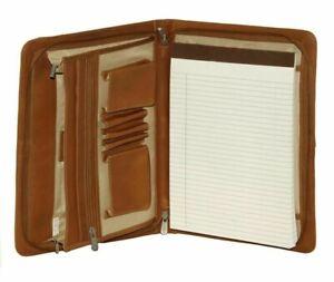 Piel Leather 3 Way Zippered Envelope Padfolio Writing Pad Saddle Leather 9130