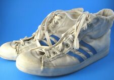 Vtg Adidas Canvas High Top Basketball Shoes Blue Stripe Made in France Unsized
