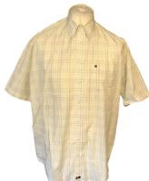 Farah Men's Shirt White Check Short Sleeve Large 100% Cotton