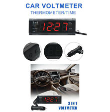 3 in1 Digital LCD Clock Car Cigarette Socket Voltage Meter Thermometer Voltmeter