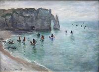 claude monet vintage painting art print  beach boats flowers canvas france