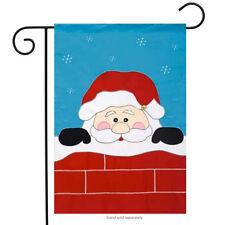 """Peek -A-Boo Santa Garden Flag Christmas Applique Chimney Banner  12.5"""" x 18"""""""
