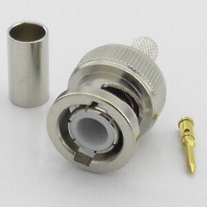 5x BNC Crimp Plug Male for RG58 RG223 RG142 LMR195 URM76 50 Ohm 50Ω