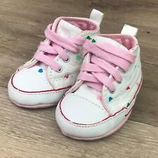Converse Girls Baby Shoes Size 2 infant pink hearts slip on lace up multi-color