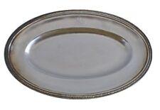 Plateau ovale métal argenté signé