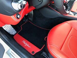 2018-2019 Ferrari Portofino Carpet/Eco Leather Floor Mats Black/Red