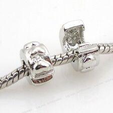 5pcs ON SALE Hearts Stopper Lock Clip European Charms Beads Fit Bracelet 11mm J