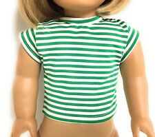"""Green & White Striped Cap Sleeved Top Shirt for 18"""" American Girl Doll Clothes"""