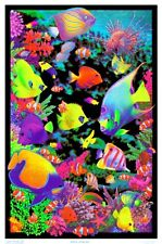 LIVING REEF - BLACKLIGHT POSTER - 24X36 FLOCKED NATURE OCEAN TROPICAL FISH 6016