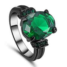 Vintage oval Cut Green Emerald CZ Wedding Ring  Black Rhodium Plated Size 9