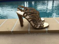 PRADA DISTRESSED GOLD LEATHER STRAPPY WOOD HEEL SANDALS Sz 35.5M MADE IN ITALY