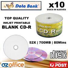10 x Data Bank Blank CD R 52x White Inkjet Printable CD TDK CD Quality A+