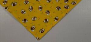 Dog Bandana, Tie/Slide On,  Golden, Yellow, Bumblebees,  S,M