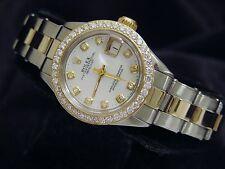 Rolex Datejust Lady Steel 14K Yellow Gold Watch 1ct Bezel White MOP Diamond Dial