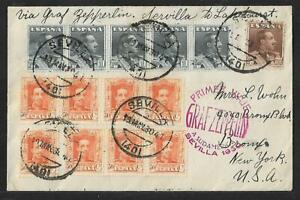 ZEPPELIN SPAIN TO USA GREAT FRANKING ON AIR MAIL COVER 1930