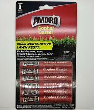 Amdro Gopher Moles Skunks Woodchucks Killer Gardens Outdoor 6 Gassers 0.75 Oz ea