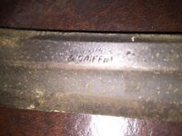 "Jennings &Griffin 15""Adjustable Handle Draw Knife Spoke Shave Woodworking Gold"