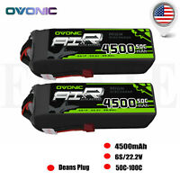 2X Ovonic 4500mAh 6S 22.2V 50C RC Lipo Battery Pack Deans Plug for RC Car Heli