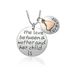 And Child Is Forever' Engraved Necklace *Uk* 925 Silver Plt 'Love Between Mother