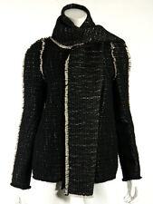 LANVIN Hiver 2011 Black Wool Tweed Raw Edge Scarf Jacket Set 36