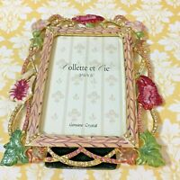 "Collette et Cie Photo Picture Frame Genuine Crystals Enamel Flowers 3.5"" x 5"""