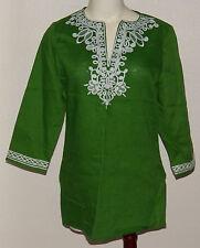 NWT Jones New York Signature Linen Shirt SMALL Kiwi Green Embroidered Retail $89