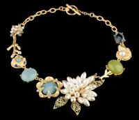 Retro Style Floral Pearl Necklace Cluster Crystal Aqua Stone Statement Collar