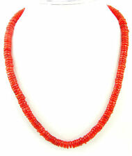 185 Ct Natural Orange Carnelian Tyre Heishi Rondelle Beads Necklace String- B157