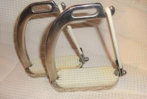 "CENTAUR Safety Peacock Stirrups - Stainless Steel - 4 1/2"" Size - GREAT!"