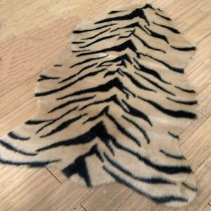 New Tiger Print Rug Skin Hide Mat Leather Faux Fur Animal Home Carpet Area Rugs